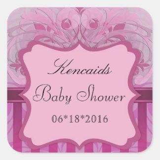 Pink Damask Baby Shower Square Sticker