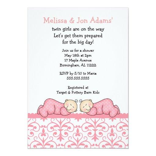 Pink Damask Baby Twin Girls Shower Invite