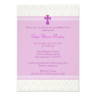 Pink Damask Baptism/Christening Invitation