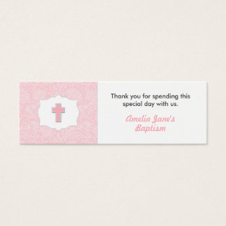 Pink Damask Baptism Favor Tag with Cross