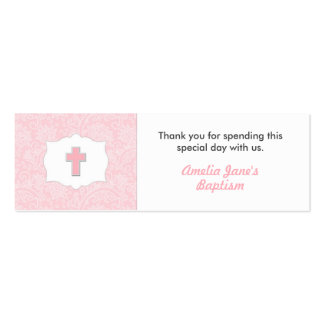 Pink Damask Baptism Favor Tag with Cross Mini Business Card