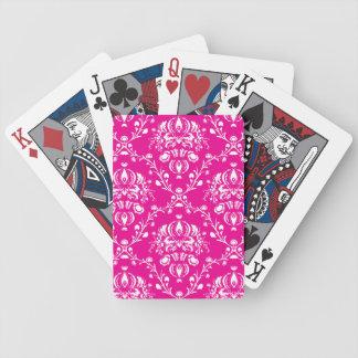 Pink Damask Bicycle Playing Cards