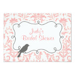 Pink Damask & Bird Bridal Shower Invitation Card
