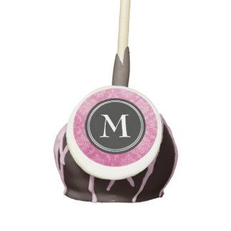 Pink Damask Black Monogram Cake Pops
