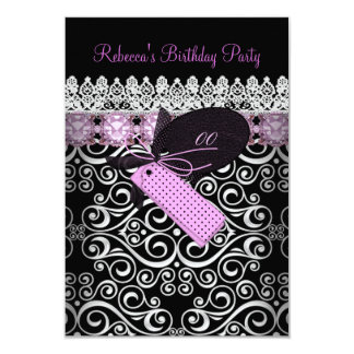 Pink Damask Black White Birthday Party Card
