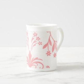 Pink Damask Bone China Cup