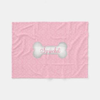Pink Damask Bone Custom Name Dog Blanket