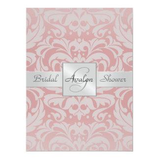 Pink Damask Bridal Shower Monogram Invitation
