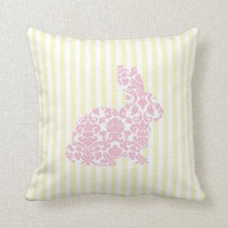 Pink Damask Bunny Rabbit on Yellow Stripes Throw Pillows