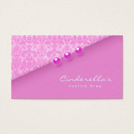 Pink Damask Buttons Bra / Salon business card