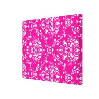 Pink Damask Stretched Canvas Prints
