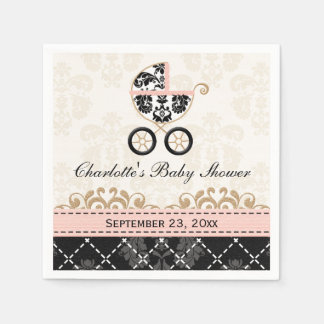 Pink Damask Carriage Baby Shower Paper Napkin