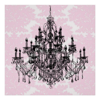 Pink Damask Chandelier Art Print