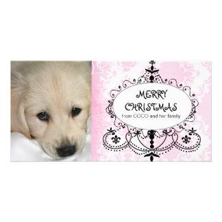 Pink Damask Chandelier Dog Christmas Photo Card