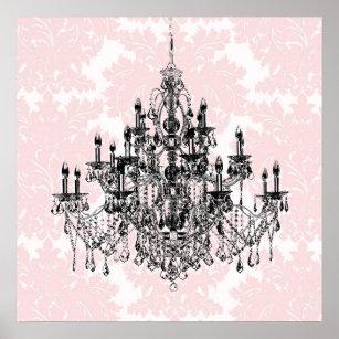 Pink chandelier art framed artwork zazzle pink damask chandelier wall art print aloadofball Image collections