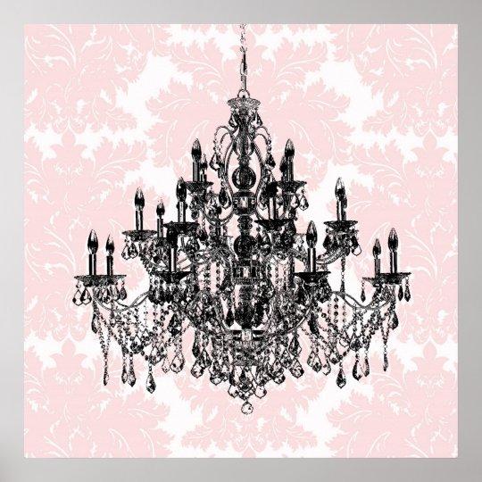 Damask Wall Art pink damask chandelier wall art print | zazzle