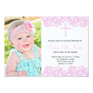 Pink Damask Christening Baptism Invitation