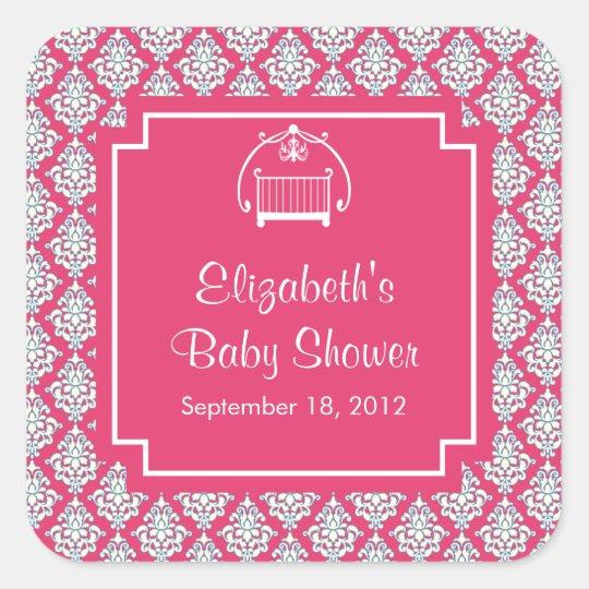 Pink Damask Crib Baby Shower Square Sticker
