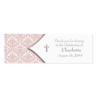 Pink Damask Cross Bomboniere Tags Double-Sided Mini Business Cards (Pack Of 20)