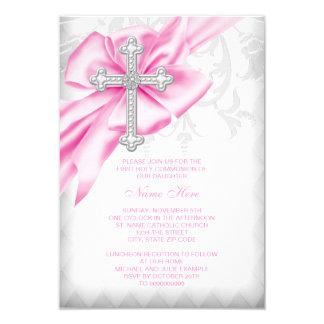 Pink Damask Cross First Communion 3.5x5 Paper Invitation Card