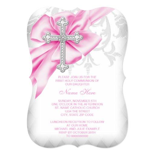 Pink Damask Cross First Communion Personalized Invitations