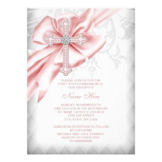 Pink Damask Cross First Communion Custom Invitation