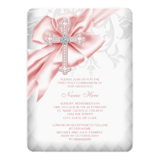 "Pink Damask Cross First Communion 5.5"" X 7.5"" Invitation Card"