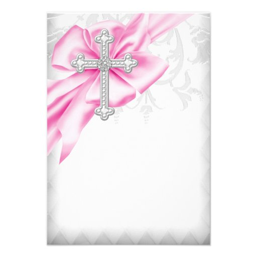 Pink Damask Cross First Communion Personalized Invites (back side)