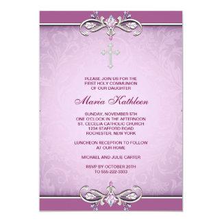 Pink Damask Cross First Communion Invitation