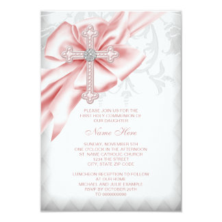 "Pink Damask Cross First Communion 3.5"" X 5"" Invitation Card"