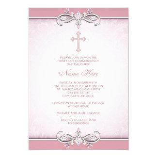 Pink Damask Cross First Communion Announcement
