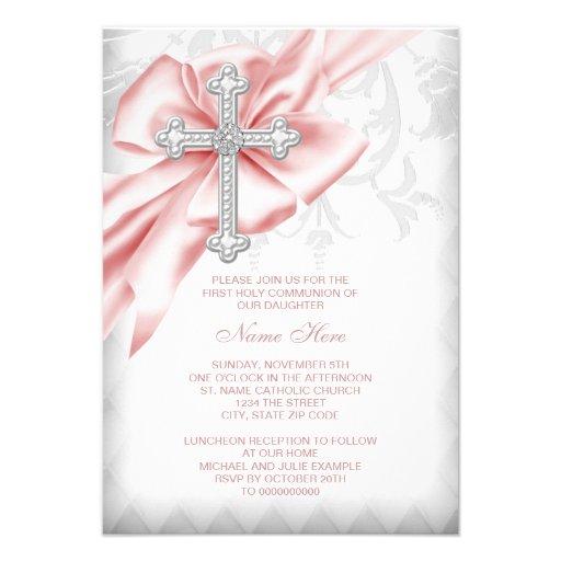 Pink Damask Cross First Communion Invites