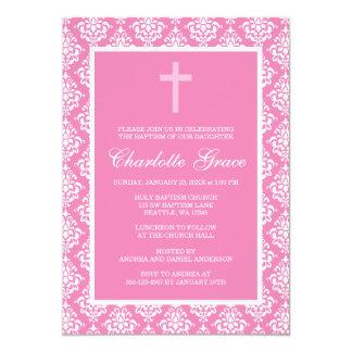 Pink Damask Cross Girl Baptism Christening 5x7 Paper Invitation Card