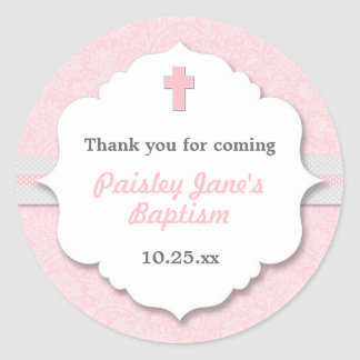 Pink Damask cross girl baptism christening favor Classic Round Sticker
