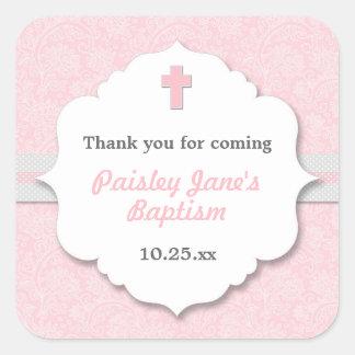 Pink Damask cross girl baptism christening favor Square Sticker