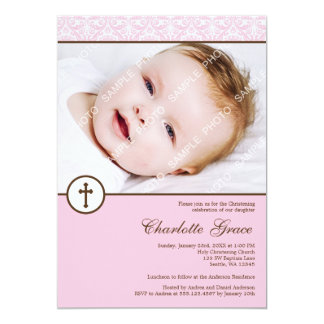 Pink Damask Cross Girl Photo Baptism Christening 5x7 Paper Invitation Card