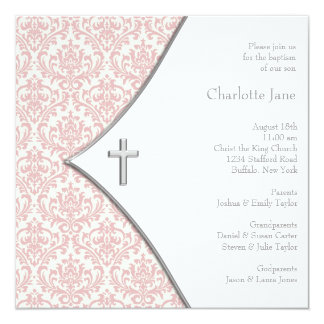 Pink Damask Cross Girls Baptism Christening Personalized Announcements