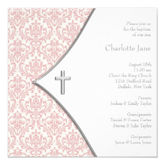 "Pink Damask Cross Girls Baptism Christening 5.25"" Square Invitation Card"