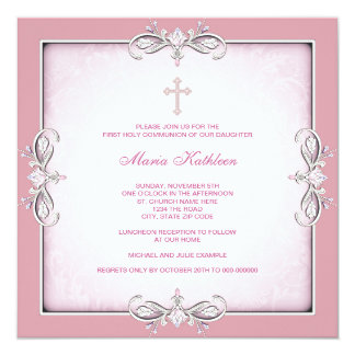 "Pink Damask Cross Girls Pink First Communion 5.25"" Square Invitation Card"