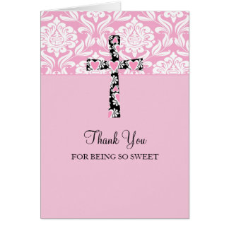 Pink Damask Cross Girl's  Thank You Cards