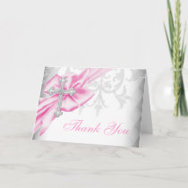 Pink Damask Cross Thank You