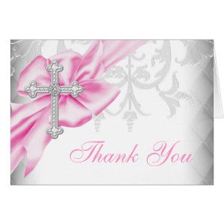 Pink Damask Cross Thank You Greeting Card