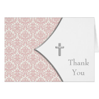 Pink Damask Cross Thank You Cards