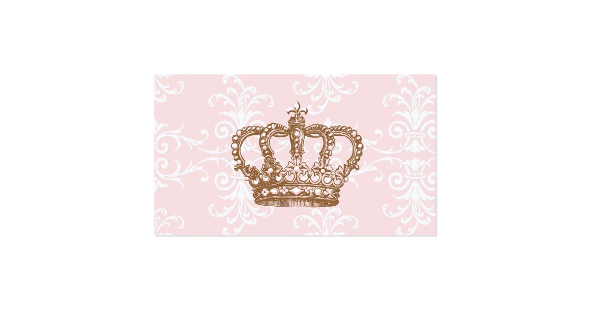 Pink damask crown business card zazzle for Crown business cards