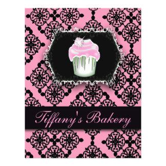 Pink Damask Cupcake Bakery Promo Flyers