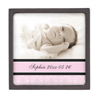 Pink Damask Custom Baby Photo Keepsake Giftbox Gift Box
