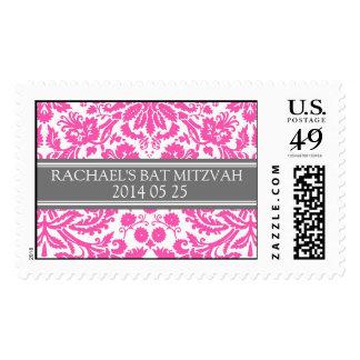 Pink Damask Custom Name Bat Mitzvah Stamps