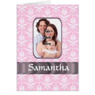 Pink damask custom photo card
