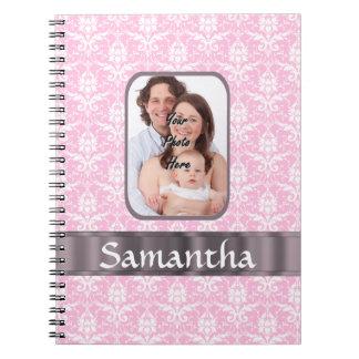 Pink damask custom photo notebook