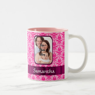 Pink damask custom photo Two-Tone coffee mug